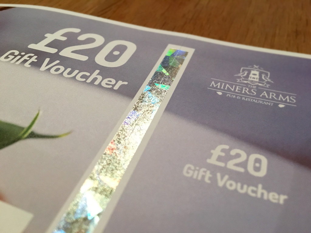 Treat your loved one with a Miners Arms gift voucher